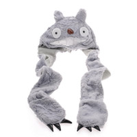 2016 New Peluches Cartoon Faux Fur My Neighbor Enfants Enfants Costume Beanie Totoro Chapeau Femme Homme avec Long Paw Gants mitaines Claw