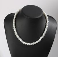 collares de perlas de la boda para las novias al por mayor-Collar de gargantilla de perlas de imitación redondas de boda DHL Collar de perlas de boda para novias Accesorios de joyería blanca Regalo de Navidad