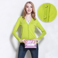 Wholesale Sun Protection Shirt Women S - High quality! Autumn Spring all-match women knitted sweater cardigan female air conditioning short jacket sun protection shirt