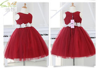 Wholesale Gown Outlet - Factory Outlets Elegant Red Tulle Ball Gown Baby Girl Wedding Dress Party Birthday Dress Flower Girl Dresses With Handmade Flowers Belt 1-11