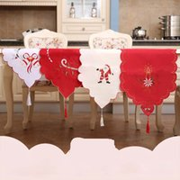 Wholesale White Tablecloth Runner - Satin Table Runner For Christmas Wedding Holiday Decoration Favor Elegant Tablecloths Embroidery Red White Color 170X40cm