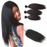 Wholesale Easy Deal - Mongolian Hair Bundles With Closure 100% Cheap Kinky Straight Human Hair 3 Bundle Deals And Lace Closure Mongolian Virgin Hair Weft G-EASY
