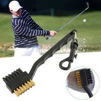 Wholesale golf equipment training aids - Dual Bristles Golf Club Brush Cleaner Ball 2 Way Cleaning Clip Lightweight Portable Golf Training Aids Practice Equipment #4162