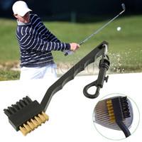 ajudas de treinamento para clubes de golfe venda por atacado-Dupla Cerdas Clube de Golfe Escova Limpo Bola 2 Way Clipe de Limpeza Leve e Leve de Treinamento de Golfe Portátil Equipamentos de Prática # 4162