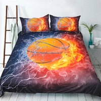 Fundas De Edredón Estampadas Baratos-3D Unique Basketball Fire Impreso edredón Set Boy Kids Sports Conjunto de cama Cartoon Twin Queen King Size Ropa de cama suave 3Pcs