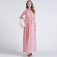 Wholesale Halterneck Chiffon Dresses - AMF160626 New arrival women summer Halterneck with beam waist band long dress in solid chiffon bohemian dress Free shipping