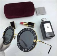 Wholesale Mirror Letters - Hot brand Women Round 0113S Luxury Fashion Designer letter Eye Sunglasses Top quality Frame WHITE-GOLD SILVER Mirror Sunglasses G 0113