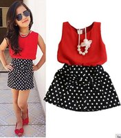 Neue Sommermode Kinder Mädchen Kleidung Sleeveless Chiffon Tops Weste Polka Dot Bowknot Rock Outfits Kinder Kleidung Sets