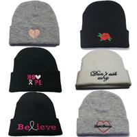 schöne hüte großhandel-Mode Hip Hop Winter Wollmütze Weihnachten Stickerei Strickmütze Kappen Baseballmützen Winter Hüte schöne Stickerei Beanies warmer Hut