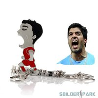Wholesale Images Track - 2014 World Cup Souvenirs Luis Suarez Bottle Opener Bite Image Stainless Key Chain order<$18no track