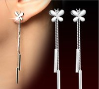 Wholesale Elegant Designer Retro Sterling Silver Butterfly Tassel Long Dangle Earrings Cocktail Party Fashion Jewelry