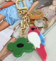 Wholesale Horns Lights - 1:1 KEY HOLDERS BAG CHARMS With box dust bag lovely birds key chains bag charms key ring