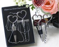 Wholesale Stainless Steel Heart Bottle Stoppers - Wine Bottle opener Heart Shaped Great Combination Corkscrew and Stopper Heart-Shaped Sets Wedding Favors Gift 50sets=100pcs