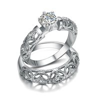 Wholesale Princess Round Diamond Ring - Luxury 2 Rounds Wedding Ring Set Rings For Women CZ Diamond Jewelry female rings finger princess engagement ring Jewelry L261