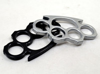 Wholesale Wholesale Self Defense Brass Knuckles - DHL Shipping Silver and Black Thicker Steel Brass knuckle dusters Self Defense Personal Security Women and Men self-defense Pendant