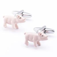 cufflinks venda venda por atacado-O envio gratuito de Alta Qualidade Venda Quente de Bronze Para Camisas Abotoaduras Animal Engraçado Rosa Porco Abotoaduras Mens 960044