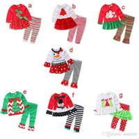 Wholesale Kids Santa Outfits - Xmas Girls Baby Childrens Clothing Sets Christmas Tree Cotton Long Sleeve Tops Pants 2 Set Santa Girl Kids New Year Clothes Outfits