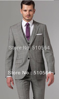 Wholesale Prince Wool - Wholesale-Free shipping Italian high quality worsted 100% Wool suit Men suit Two Buttons Gray Prince of Wales Three-Piece Suit