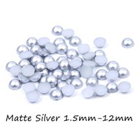 Wholesale Silver Nail Letter Art - Resin Flatback Half Round Beads Matte Silver Color Craft ABS Imitation Pearls 3mm-12mm Many Sizes DIY Nails Art Decoration