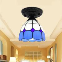 stoff bündig montieren licht großhandel-Deckenleuchte Glasmalerei Lampenschirm Mittelmeer Stil Esszimmer Lamparas Luminaria E27 3W AC110-240V