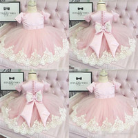 Wholesale Toddlers Satin Shirts - Lace Applique Flower Girl Dresses For Weddings 2017 Kids Pageant Sleeveless Backless Ankle Length Tulle Pink Baby Toddler Communion Dresses