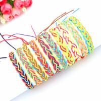 freundschaftsarmbänder wachsen großhandel-Wachs-Linie Freundschaftsarmbänder Weben Seil String handgemachte Charme / Strand Armbänder für Frauen Männer