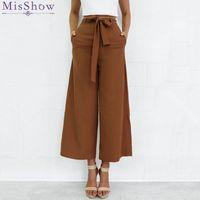 Wholesale Drawstring Pants Fashion Women - 2017 Fashion Women Elastic High Waist Wide Leg Pants OL Casual Loose Palazzo Pants Black Ladies Trousers S-XL Pantalon Femme FS3006