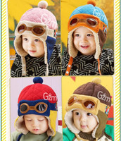 Wholesale Ear Cap Coffee - Baby Kids New Ear Muffs Infant Pilot Cap Warm Toddler Children Aviator Earflap Hat for Winter New Fashion Red Blue Pink Coffee Color