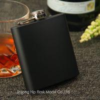 ingrosso bottiglia di liquido inossidabile-Tappo a vite per beuta liquore 6oz nero opaco, acciaio inossidabile al 100%, saldatura laser, logo personalizzato gratuito