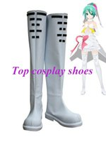 Wholesale Miku Cosplay White - Wholesale-Freeshipping Vocaloid Hatsune Miku Wedding Dress Cosplay Boots shoes white long Ver #GAI0127