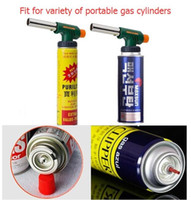 Wholesale Wholesale Gas Cylinder - NEW Handy Flame Butane Torch head kitchen torch Chef Blowtorch Fit for variety of portable gas cylinders