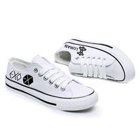Wholesale Kpop Sale - Wholesale-Size 35-44 KPOP EXO 2016 Hot Sale K-POP Fashion Hand Drawn White Canvas Cartoon Printing Leisure Flats Low Upper Design Shoes