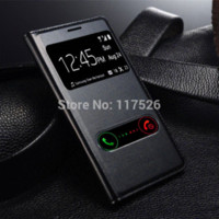 Wholesale S3 Battery Flip - View Open Window PU Leather Back Cover Battery Housing Flip Case for Samsung Galaxy S3 SIII  3 i9300 9300 Mobile Phone Cases