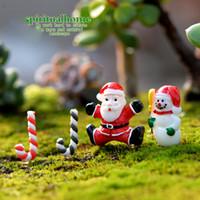 Wholesale miniature christmas - 4pcs set Snowman Santa Claus Miniature Garden Home Decor Micro Landscaping DIY Accessories Christmas Ornament