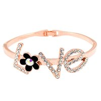Wholesale Amethyst Grading - High-grade gold jewelry all-match five drops oil are flower crystal bracelet bracelet LOVE Valentine Gift