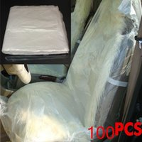 Wholesale Plastic Seat Covers - 100pcs Disposable Clear Plastic Car Seat Covers Protector Mechanic Valet Free