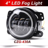 New-430A 2PCS / Pair 4 pulgadas redondas 30w led faros antiniebla / luz led faro con Angel Eye halo anillo DRL para Jeep wrangler 4x4 Offroad