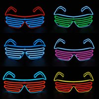 Wholesale Glass Kids Party - New LED EL Wire neon Flashing Glasses for christmas Birthday Halloween neon party Costume party decoration supplies Fashionable glasses