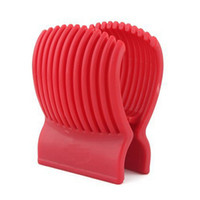 Discount red cutter - Good Quality Fruit Vegetable Cutter Tools Plastic Red Tomato Holder Slicer Guide Potato Onion Holder Cutter