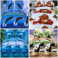 Wholesale King Purple Blue Bedding - fashion 2017 Home Textiles 3D animal Reactive printing cotton 4 pcs bedding set duvet quilt cover bed sheet Pillowcase bedclothes SS21