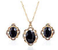 siyah elmas taşlı oval toptan satış-Sıcak satış alaşım OVAL mavi siyah taş taş altın küpe kolye setleri jelwery setleri ile rhinestone moda kişilik jelwery ücretsiz kargo