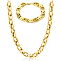 Wholesale Mens Chunky Gold - 18K Real Gold Plated Mens Necklace & Bracelet set Chunky Gold Chains For Men Cuban Link Bracelets YDHX207