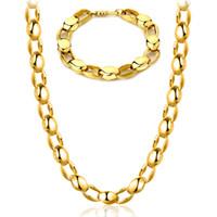 Wholesale Chunky Gold Bracelets Men - 18K Real Gold Plated Mens Necklace & Bracelet set Chunky Gold Chains For Men Cuban Link Bracelets YDHX207