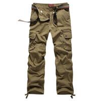 Wholesale Sport Camo Cargo Pants - Wholesale-Big size 30-44! Mens classic multi-pocket baggy casual camo cargo pants Men outdoor military training sport trousers sweat pants