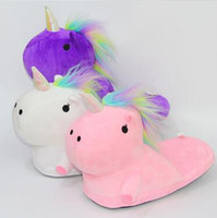 3 cores Unicorn Plush Slippers Unicórnio Meio calcanhar Warm Household chinelos de inverno para Unisex Big Children Shoes 2pcs / par CCA7480 20pairs