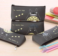 Cartoon Miyazaki Totoro Pencil Bags Atacado Kids Kids Pen Bags PU Impermeável Stationery Bags Promoção Xmas Gift for Boys Girls WD465