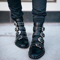 stacked heel boots - Embellished Silver tone Metal Studs Buckle Strap Prue Ankle Boots Black Soft Leather Point Toe Stacked Heel Boots Shoes Woman