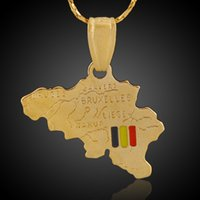 brass necklace charms Australia - Countries Map Theme Belgium Pendant 18K Real Gold Plated Brass Charms Making Men Women Necklace Jewelry Findings Components Made in China