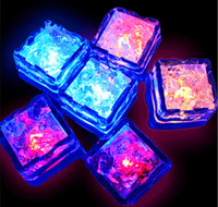 Wholesale Led Ice Cubes Lights Wholesale - Set of 100 Lite cubes Multicolor Light up LED Blinking Ice Cubes , Liquid active ,Night Light, Party, Xmas , wedding decor