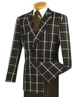 Wholesale Custom Glass Windows - Fashion Men's brown window glass double-breasted 6 button classic men's office suit 2 (jacket + pants) custom made